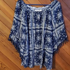 Cato XL blue patterned boho inspired top